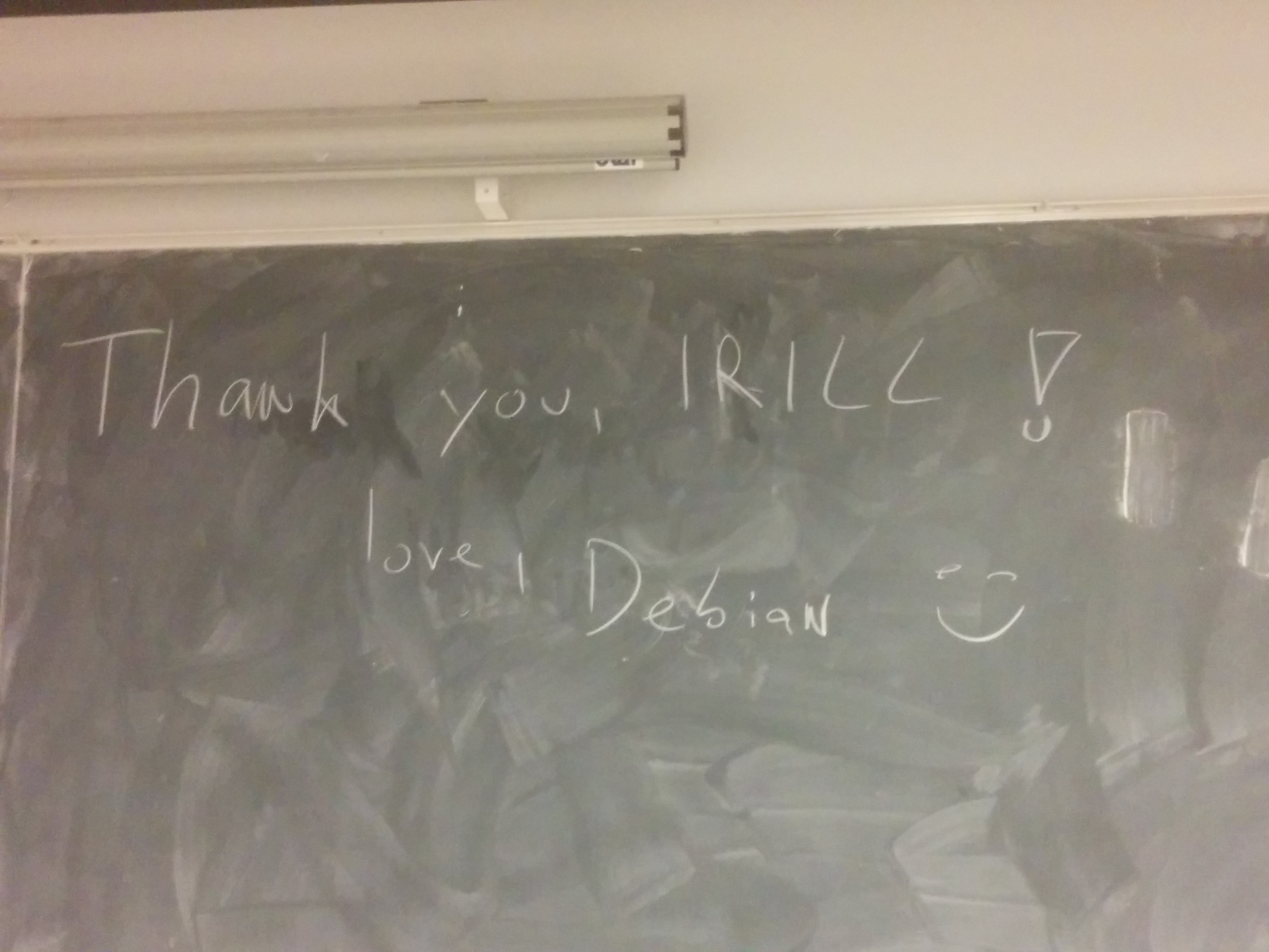 A thank you message to IRILL h01ger wrote on a blackboard
