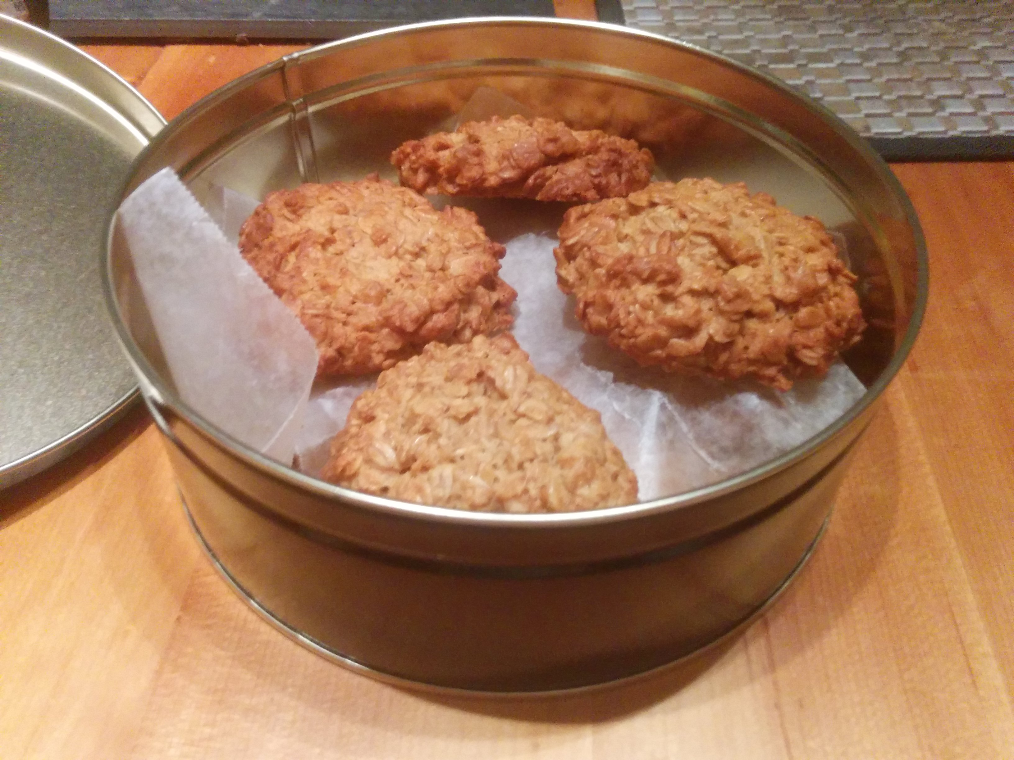 Homemade cookies in a cookie tin