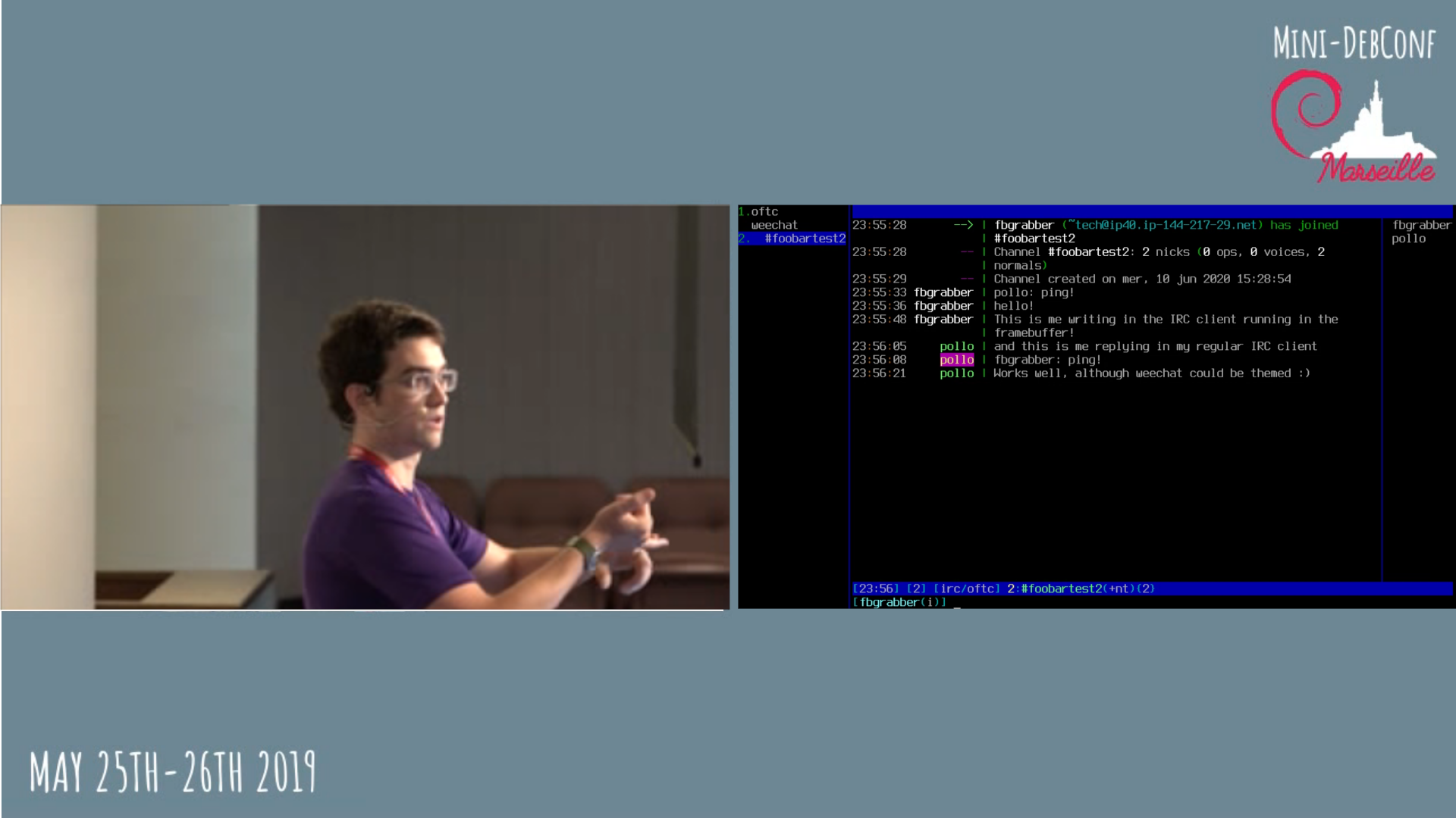 A mockup of a side-by-side voctogui window with someone on the left and a terminal running weechat on the right